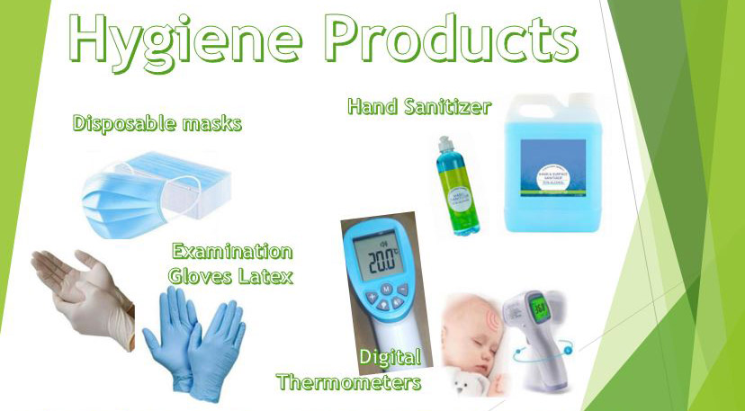 disposable-masks-latex-gloves-hand-sanitizer-digital-thermometers-Hygene products